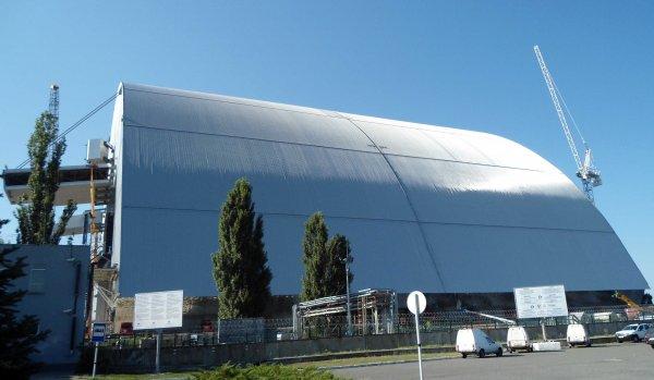 Le nouveau dôme du réacteur 4 de Tchnernobyl Wikimedia Commons