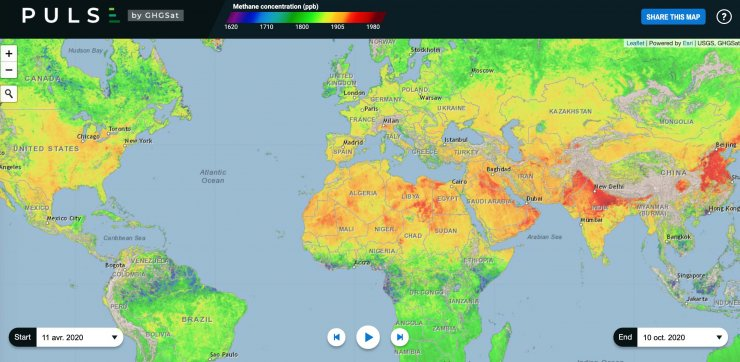Cartes méthane monde GHGSat capture écran